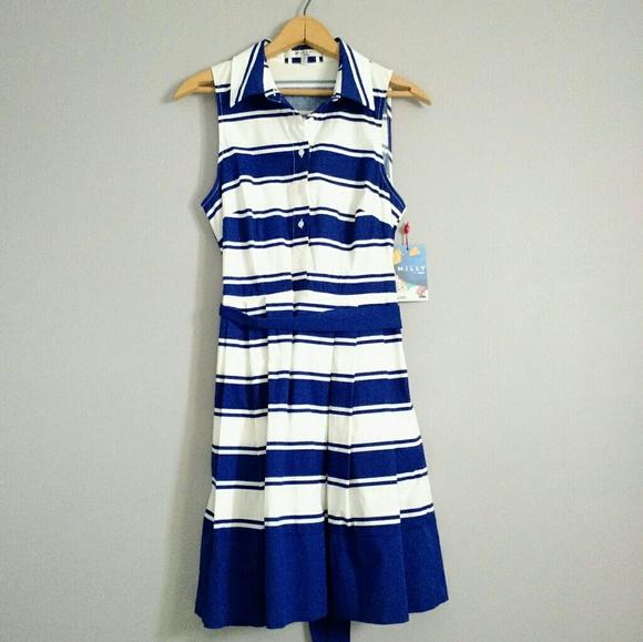 bf05d21eaf2 NWT Milly Striped Sleeveless Shirt Dress 4 Classic